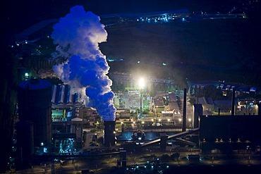 Aerial photo, Prosper coking plant, Ruhr Coal, Evonik, night exposure, blue illumination, Extraschicht 2008 festival, Bottrop, Ruhr area, North Rhine-Westphalia, Germany, Europe