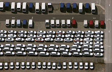 Aerial photograph, new cars in a car park, car stockpile, Porsche, Essen, Ruhr area, North Rhine-Westphalia, Germany, Europe