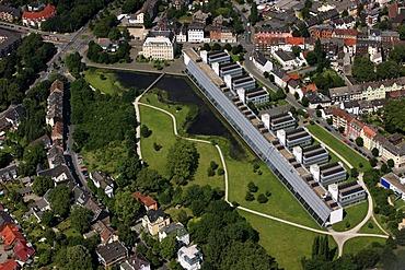 Aerial view, exhibition hall, Wissenschaftspark, science park, IBA, Gelsenkirchen, Ruhr Area, North Rhine-Westphalia, Germany, Europe