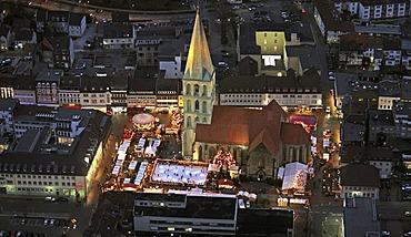 Aerial view, Pauluskirche Church Christmas Market, night shot with christmas lights, Hamm, Ruhr Area, North Rhine-Westphalia, Germany, Europe