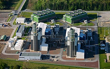 Aerial view, new power plant Trianel, Uentrop, Hamm, Ruhr Area, North Rhine-Westphalia, Germany, Europe