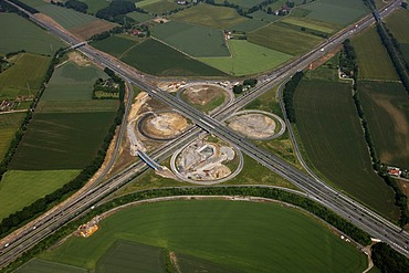 Aerial view, Kamener Kreuz, motorway junction, A1 and A2 motorways, structural alteration works, Kamen, Ruhr Area, North Rhine-Westphalia, Germany, Europe
