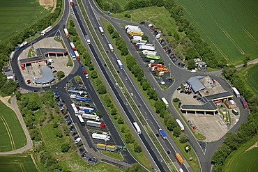 Aerial picture, Peppenhoven motorway restaurant on the motorway A61 between Swifttal and Rheinbach, North Rhine-Westphalia, Germany, Europe