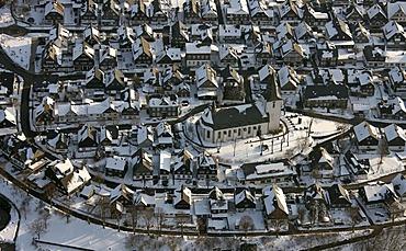 Aerial view, church, Winterberg, Sauerland, North Rhine-Westphalia, Germany, Europe