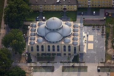 Aerial photograph, mosque, Duisburg Farn, Ruhr Area, North Rhine-Westphalia, Germany, Europe