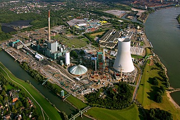 Aerial photograph, atmospheric cooling tower, power plant, Steag, Evonik, Walsum, Duisburg, Ruhr Area, North Rhine-Westphalia, Germany, Europe