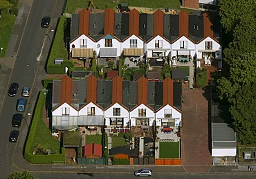 Aerial photograph, rows of residential houses, Horstmar, Luenen, Ruhr Area, North Rhine-Westphalia, Germany, Europe