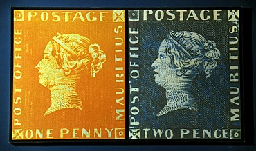 Orange red and blue Mauritius Post Office Stamps, Blue Penny Museum, Caudan Waterfront in the harbour of the capital city Port Louis, Mauritius, Africa, Indian Ocean