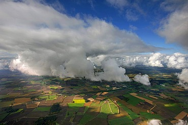 Aerial photograph, cumulus clouds over Hamm, Ruhr district, North Rhine-Westphalia, Germany, Europe