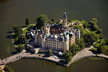 Areal view, Schwerin Castle, Schwerin, Mecklenburg-Western Pomerania, Germany, Europe