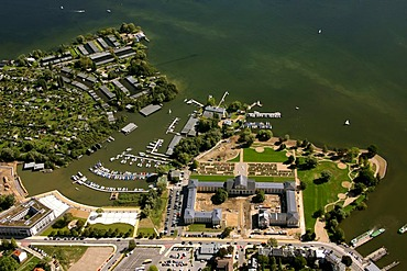 Aerial view, compound of the German Federal Garden Show 2009, Lake Schwerin, Mecklenburg lake district, Schwerin, Mecklenburg-Western Pomerania, Germany, Europe
