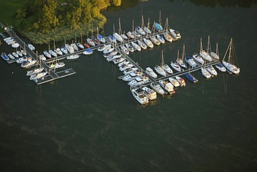 Aerial photograph, boat landing stage, sailboats, Roebel, Mueritz, Mecklenburg-Western Pomerania, Germany, Europe