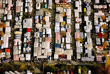 Aerial picture, Schalke flea market, Gelsenkirchen, Ruhr area, North Rhine-Westphalia, Germany, Europe
