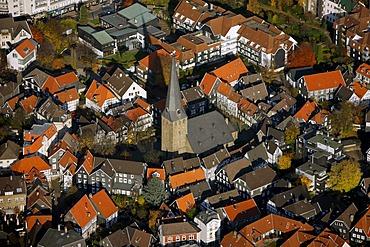 Aerial view, Saint George's Church, inner city, historic district, Hattingen, North Rhine-Westphalia, Germany, Europe