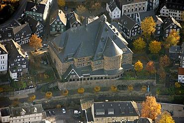 Aerial picture, Langenberg, community centre, Velbert, Ruhr area, North Rhine-Westphalia, Germany, Europe