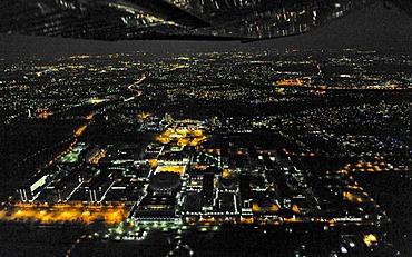 Aerial photo, night shot, Ruhr-Universitaet Bochum University, RUB, Bochum, Ruhr Area, North Rhine-Westphalia, Germany, Europe