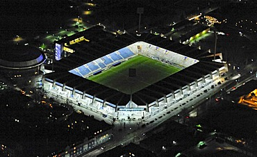 Aerial photo, night shot, VFL Stadium, soccer stadium, Bochum, Ruhr Area, North Rhine-Westphalia, Germany, Europe