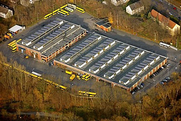 Aerial photograph, Ueberruhr, Upper Ruhr district, EVAG Depot, Essen local transport authority, Essen, Ruhr Area, North Rhine-Westphalia, Germany, Europe