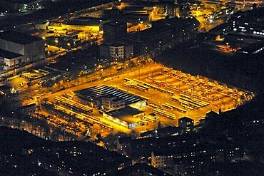 Aerial photograph at night, city centre, EVAG Depot, Essen local transport authority, Essen, Ruhr Area, North Rhine-Westphalia, Germany, Europe