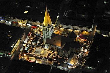 Aerial picture, night shot, Pauluskirche Church and christmas market, ice rink, Hamm, Ruhr area, North Rhine-Westphalia, Germany, Europe