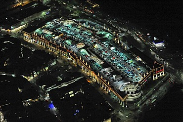 Aerial picture, night shot, Alleecenter, Hamm, Ruhr area, North Rhine-Westphalia, Germany, Europe
