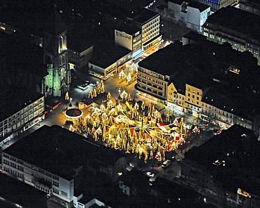 Aerial picture, night shot, city centre, Herz-Jesu Church, Altmarkt market, christmas market, Oberhausen, Ruhr area, Rhineland, North Rhine-Westphalia, Germany, Europe