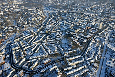 Aerial photo, Stadtring, Nordring, inner ring road, snow, Bochum, Ruhr district, North Rhine-Westphalia, Germany, Europe