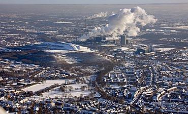 Aerial photo, snow, coking plant Prosper, Bottrop, Ruhr Area, North Rhine-Westphalia, Germany, Europe