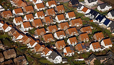 Aerial photo, newly developed arera, single-family homes, Castrop-Rauxel, Ruhrgebiet, North Rhine-Westphalia, Germany, Europe