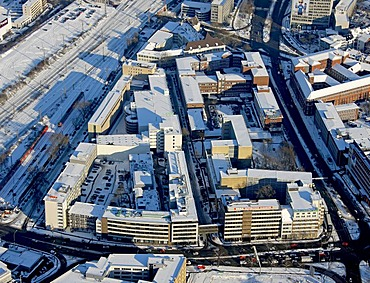 Aerial photo, Westdeutsche Allgemeine Zeitung, newspaper, headquarters WAZ, WAZ company, snow, Essen, Ruhrgebiet, North Rhine-Westphalia, Germany, Europe