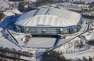 Aerial photo, Schalke Arena, S04 Veltins-Arena Sports stadium in snow, Gelsenkirchen-Buer, Gelsenkirchen, Ruhr Area, North Rhine-Westphalia, Germany, Europe
