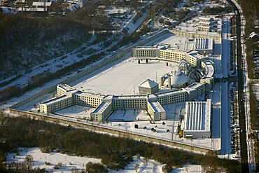 Jail Feldmark, juvenile jail, snow, Gelsenkirchen, Ruhr Area, North Rhine-Westphalia, Germany, Europe