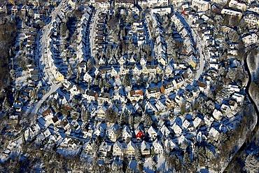 Aerial photo, residential area, terraces, snow, Gehrberg Bergerhausen, Essen, Ruhrgebiet, North Rhine-Westphalia, Germany, Europe