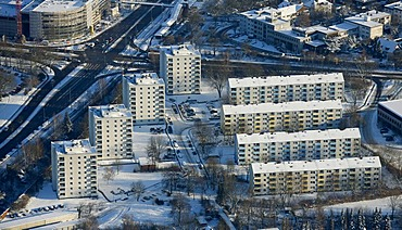 Aerial picture, Mitte multistory buildings Reschop, snow, Hattingen, Ruhr area, North Rhine-Westphalia, Germany, Europe