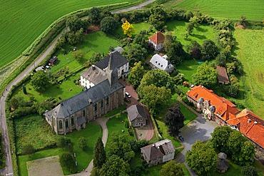Aerial photo, Oelinghausen monastery, church, Arnsberg, Sauerland, Hochsauerlandkreis, North Rhine-Westphalia, Germany, Europe