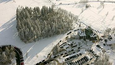 Aerial photo, Winterberg, Kahler Asten with snow, Astenturm, weather station, Rothaargebirge, Hochsauerlandkreis, Sauerland, North Rhine-Westphalia, Germany, Europe