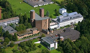Aerial photo, Benedictine Abbey Koenigsmuenster, Haus der Stille, House of Silence, Meschede, Hochsauerlandkreis, Sauerland, North Rhine-Westphalia, Germany, Europe