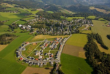 Aerial photo, new construction site for residential houses east of the village, Wiblingwerde, Nachrodt-Wiblingwerde, Maerkischer Kreis, Sauerland, North Rhine-Westphalia, Germany, Europe
