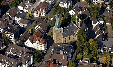 Aerial photo, Protestant Christuskirche church, Plettenberg, Maerkischer Kreis, Sauerland, North Rhine-Westphalia, Germany, Europe