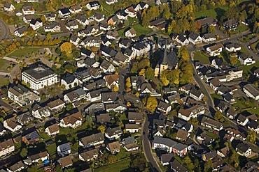Aerial photo, main street, St. Severinus Kirche church, Wenden, Sauerland, North Rhine-Westphalia, Germany, Europe