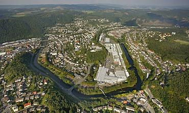 Aerial photo, Lenne river, Werdohl, Maerkischer Kreis, Sauerland, North Rhine-Westphalia, Germany, Europe