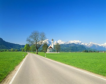 St. Coloman pilgrimage church near Fuessen, Thannheim Range, spring, east Allgaeu, Bavaria, Germany, Europe