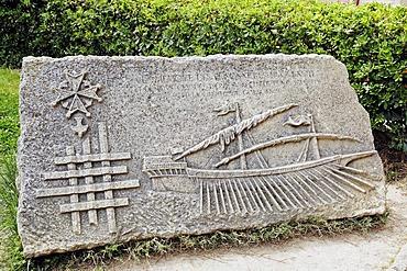 Commemorative plaque, Aigues-Mortes, Camargue, Gard, Languedoc-Roussillon, France