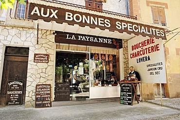 Butcher's shop, Entrevaux, Alpes-de-Haute-Provence, Provence-Alpes-Cote d'Azur, Southern France, France, Europe, France, Europe
