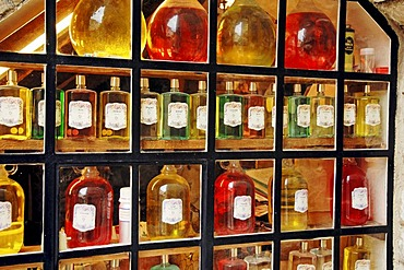 Bottles of perfume in shop window, Gourdon, Alpes-Maritimes, Provence-Alpes-Cote d'Azur, Southern France, France, Europe