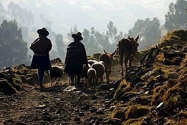 Local people near Huaraz, Peru, South America