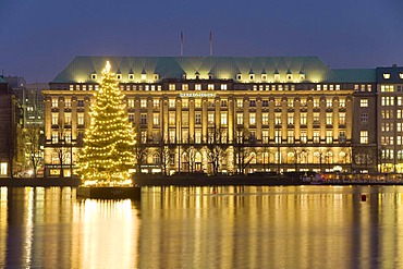 Hapag Lloyd Shipping Company Headquarters on Ballindamm Street, at front Christmas tree on the Inner Alster River, Hamburg, Germany, Europe