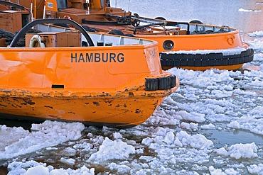 Two harbour tugs at the Port of Hamburg, Hamburg, Germany, Europe