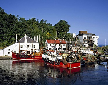 Trawlers at Crinan canal basin, Crinan, Scotland, United Kingdom, Europe