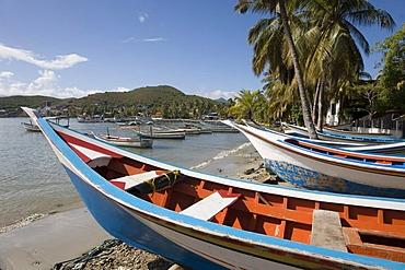 Fishing boats on Pampatar Beach, Margarita Island, Caribbean, Venezuela, South America